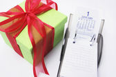 Gift Box and Calendar — Stock Photo