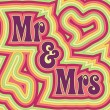 Stock Vector: Groovy Mr & Mrs
