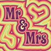 Groovy Mr & Mrs — Stock Vector