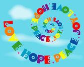 Love Hope Peace Joy Rainbow Spiral — Stock Vector