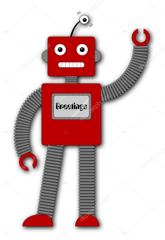A fun retro robot cartoon character waving hello — Stock Vector #3317293