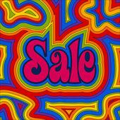 Sprzedaż groovy - tęcza — Wektor stockowy