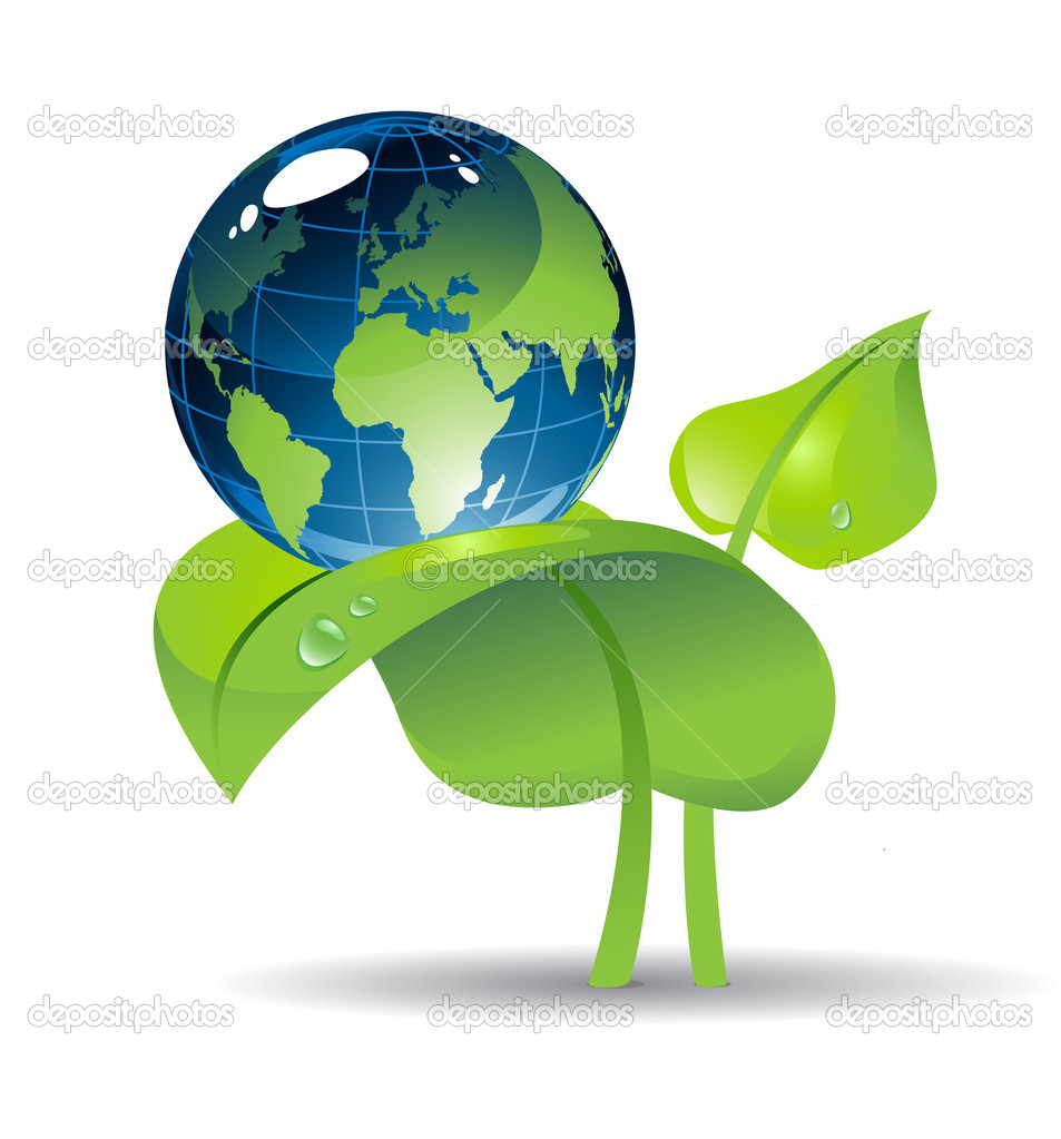 Shiny Eath globe on the plant with two leaves — Stock Vector #3070407
