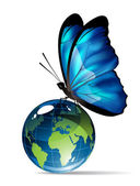 Butterfly on the globe — Stock Vector
