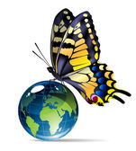 Butterfly-and-globe — Stock Vector