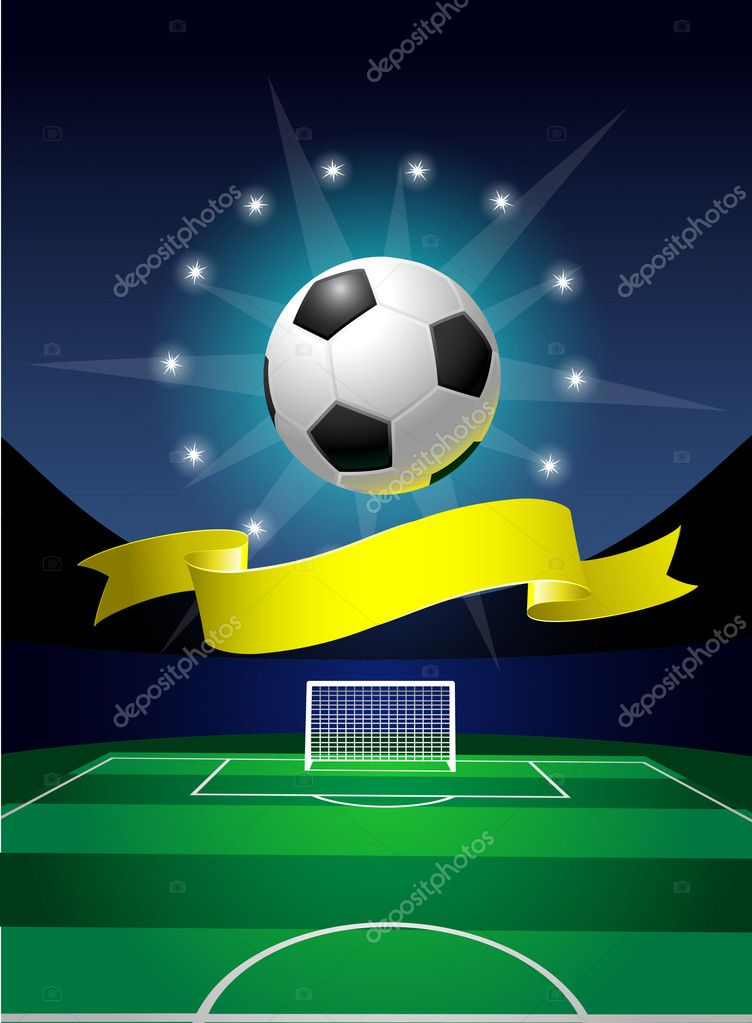 Shiny ball for soccer on the green field on the stadium — Stock Vector #3350049