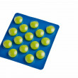 Green tablets in blue package. — Stock Photo