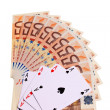 Four aces and 50 Euro banknotes. — Stock Photo