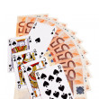 Spades cards and 50 Euro banknotes. — Stock Photo