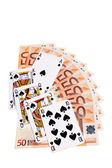 Spades cards and 50 Euro banknotes. — Stock fotografie