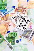 Spades cards and Euro banknotes. — Stock Photo