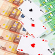 Four aces and Euro banknotes. — Stock Photo