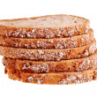 Five slices of wheat bread stacked. — Stock Photo