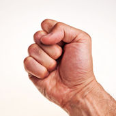 White male right hand, fist. — Stock Photo