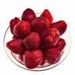 Fresh tasty strawberries in glass bowl. — Stock Photo