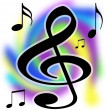 Treble Clef Music Notes Illustration — Stock Photo