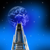 Ladder Up to the earth — Stock Photo