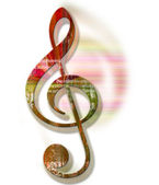Grunge Style Textured Treble Clef — Stock Photo