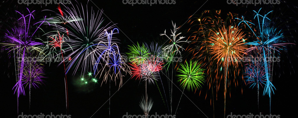 Colorful Fireworks for the Grand Finale over Lake  Stock Photo #3308423
