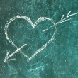 Stock Photo: Heart of blackboard