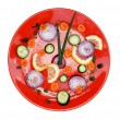 Red plate healthy clock — Foto de Stock