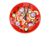 Red plate healthy clock — Stock Photo