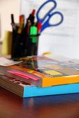 Catalogs on office desk — Stock Photo