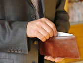 Businessman with wallet — Stock Photo