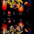 Attractive cocktails over black — Stock Photo