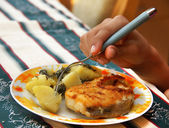 Fish and potatoes meal — Stock Photo