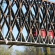 Stock Photo: Locomotive on railway bridge