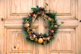 Christmas door decoration — Stock Photo