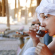 Girl drinking orient tea - Foto de Stock