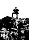 Cameraman silhouette outdoor — Stock Photo