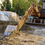 Bulldozer on building site — Stock Photo #3859717