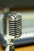 Vintage Microphone in music studio — Stock Photo