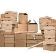 Brown different cardboard boxes — Stock Photo