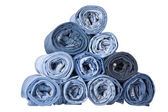 Roll blue denim jeans — Stock Photo
