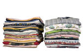 Stack of colored t-shirts and shirt — Stock Photo