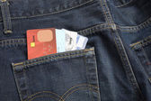 Jeans pocket with credit card, use for shopping — Stock Photo