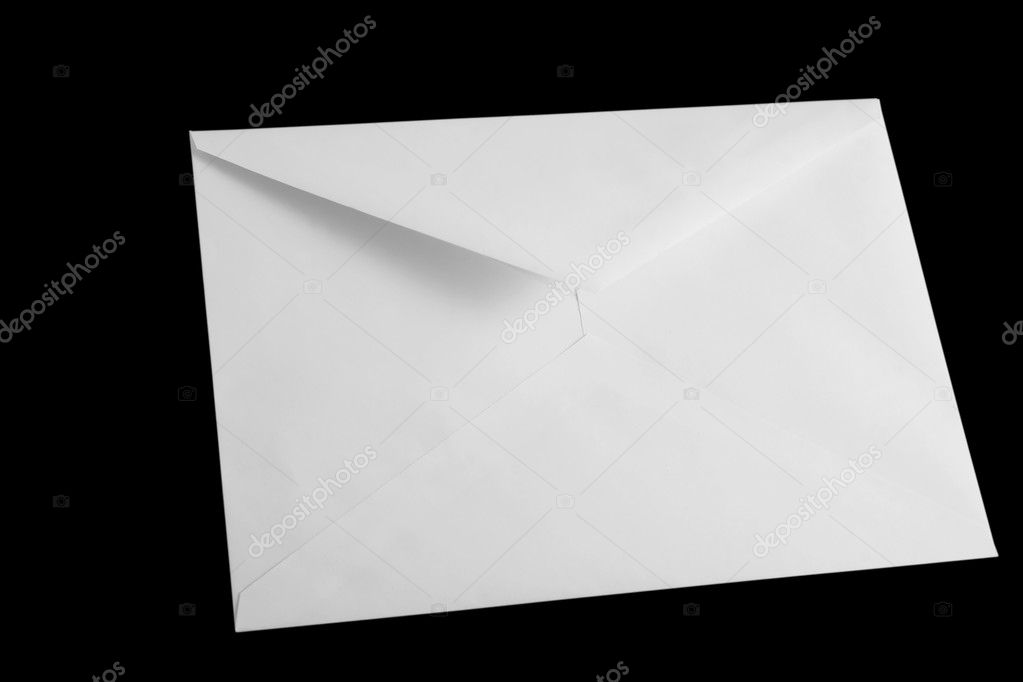 Front view of white open envelop on black background — Stock Photo #3419421