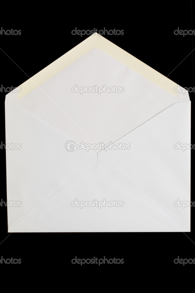 Front view of white open envelop on black background — Stock Photo #3419425