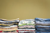 Color stacked clothes — Stock Photo