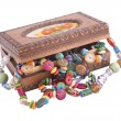 Wooden box with fashion beads — 图库照片