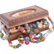 Wooden box with fashion beads — Zdjęcie stockowe