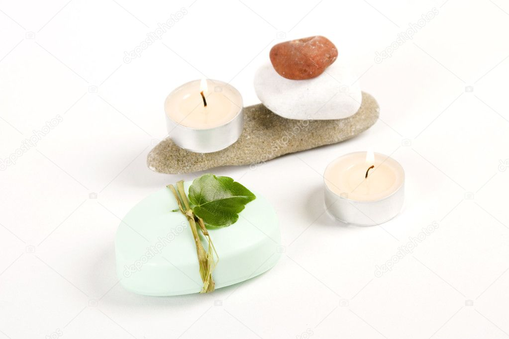 Green soap, candle and colored stones, spa concept — Stock Photo #3459033