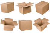 Opened and closed cardboard box — Stockfoto