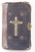 Holy Scripture with crucifix on cover — Stock Photo
