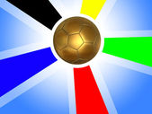 Golden soccer ball background — Stock Photo
