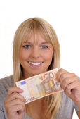 Woman with fifty Euro — Stock Photo